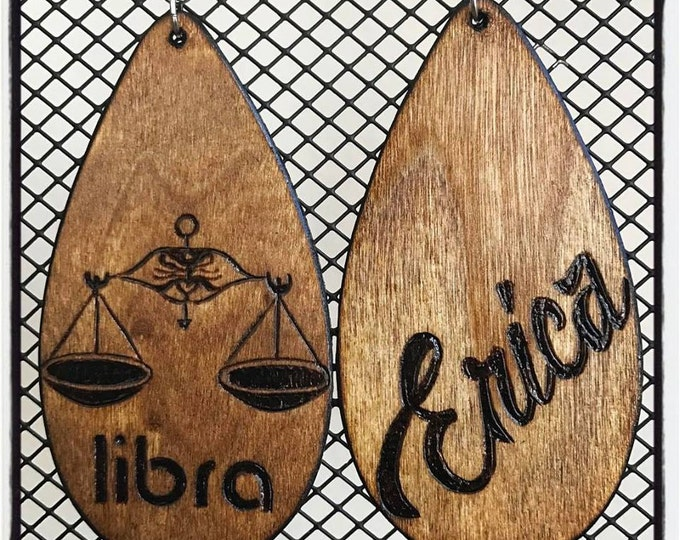 Libra Scales Earrings with personalized burned back