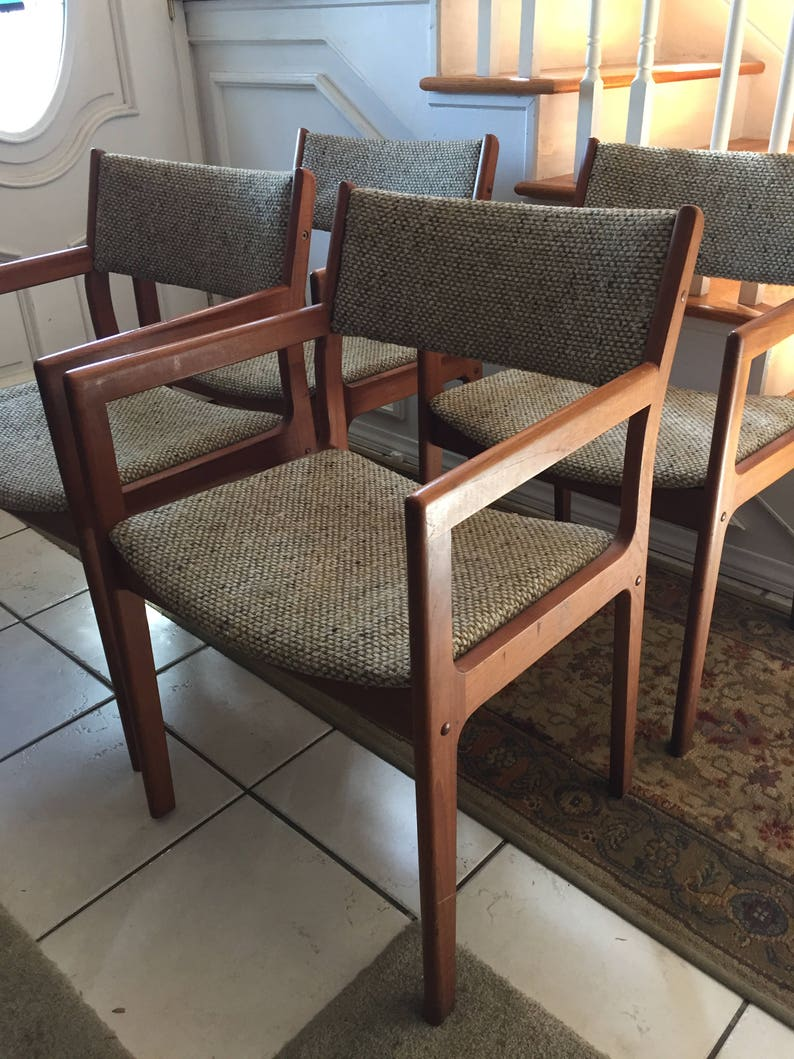 Shipping is not free 4 Mid Century Modern Danish Style Arm Chairs *