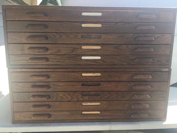 Vintage hamilton file blueprint oak wood cabinet etsy image 0 malvernweather Images