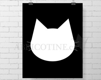 Collection Noir et Blanc, Affiche murale À IMPRIMER, Chambre d'enfants, chat, Impression Epson, illustration, bonne nuit, dodo, good night