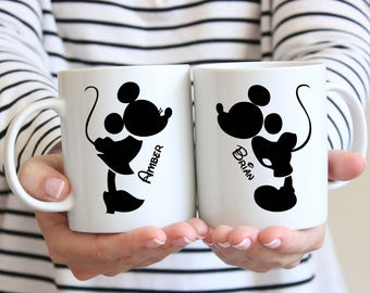 Mickey and Minnie Mouse Coffee Mugs- Wedding Gift - Anniversary Gift - Couple's Mugs - Wedding Gift -Bride and Groom - Disney Wedding