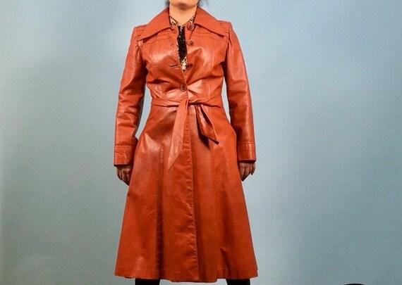 Orange Brown Leather Duster Jacket