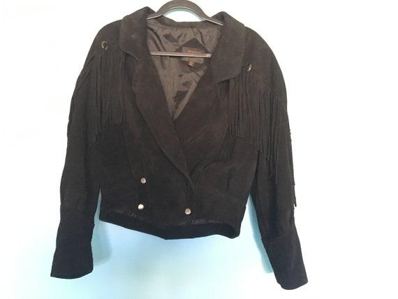 Black Suede Genuine Leather Fringe Jacket - g4000,