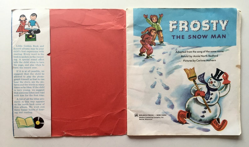 Frosty The Snowman 7' Vinyl Record / 24 Page Read Along image 1