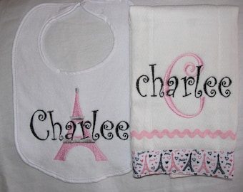 Pink and Black Paris Personalized Embroidered Burp Cloth and Bib Set