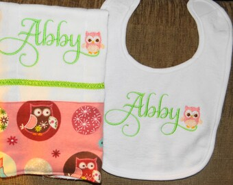 Pink and Green Owl Personalized Embroidered Burp Cloth and Bib Set