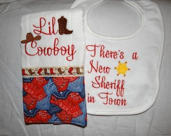Embroidered Lil Cowboy Burp Cloth and Bib Set