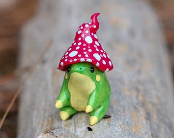 Made To Order Mushroom Frog Totem, Clay Frog Figure, Handmade Frog Figurine, Polymer Clay Frog, Frog Figure, Clay Animal Sculpture