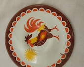 Free ship vintage 1 pieces 1970s ROOSTER cool Childs tea coffee set tin litho plates cooking kitchen play set brown orange yellow
