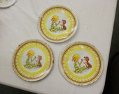 Free ship vintage 3 pieces Childs tea coffee set tin litho plates girl puppy cooking kitchen play set 1960s