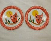 Free ship vintage 2 pieces OWL orange cool Childs tea coffee set tin litho plates cooking kitchen play set 1960s