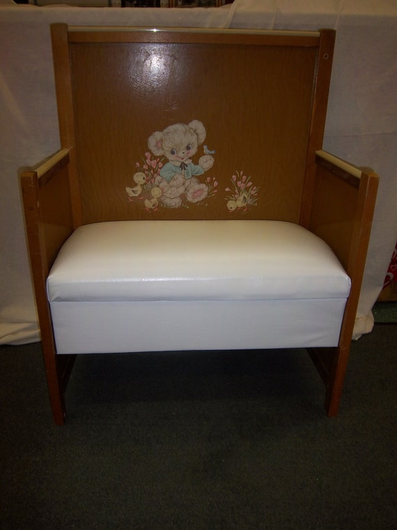Excellent Handmade Crib Bench Repurposed Upcycled White Padded Seat Teddy Bear And Ducks Lithograph Caraccident5 Cool Chair Designs And Ideas Caraccident5Info