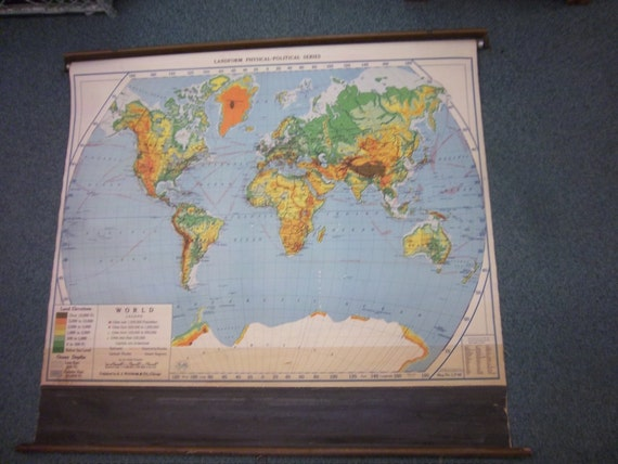Nystrom World Map.Free Shipping World Map 1942 A J Nystrom Co Retractable Etsy