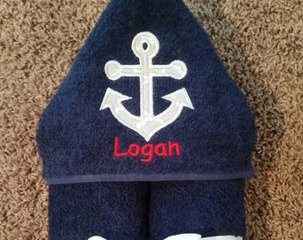 Personalized Anchor Hooded Towel