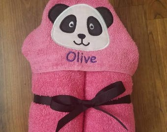 Personalized Pink Panda Hooded Towel