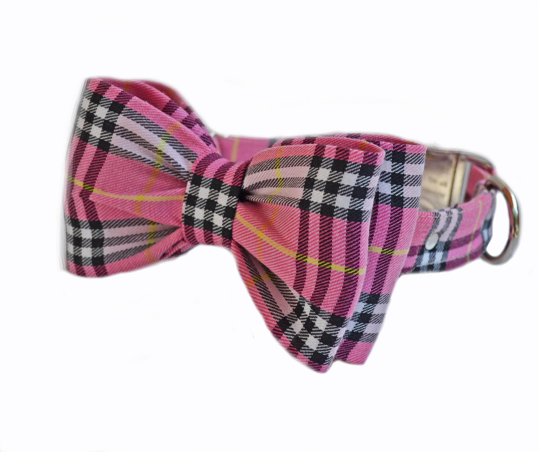 2c32cb7d8ca8 Plaid Dog Bow Collar, Wedding Pink Plaid Bow Collar, Cotton Plaid ...