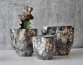 Black ceramic Faceted Planters, Modern succulent planter, Housewarming gift