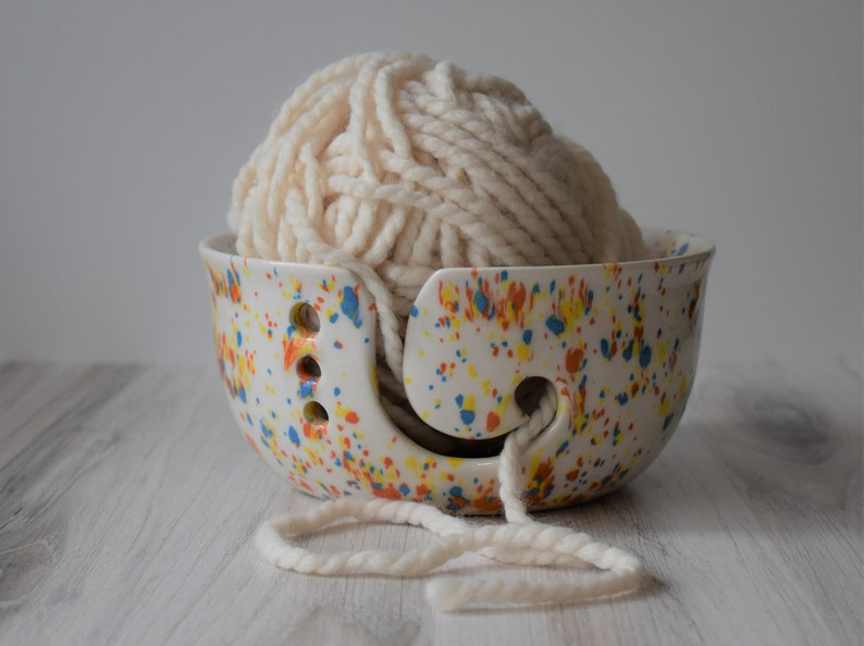 ceramic yarn holders, large yarn bowl for knitting