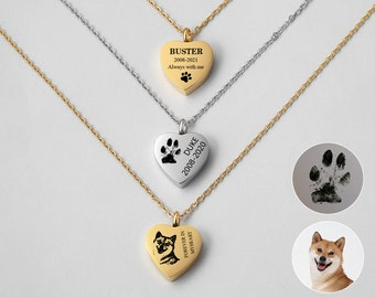 Pet Urn Necklace, Cremation Jewelry, Pet Portrait Memorial Jewelry, Heart Cremation Necklace, Pet Loss Gifts, Pet Urn Ashes, Ashes Necklace