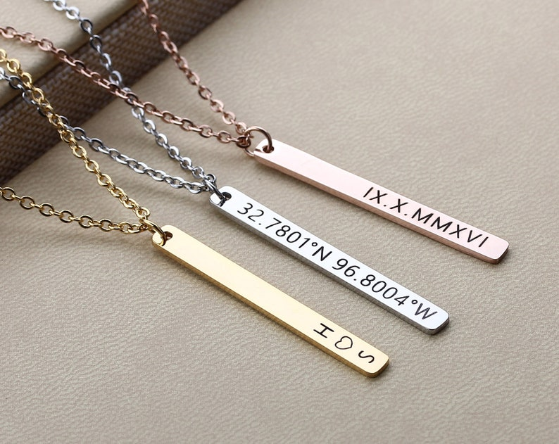 96ca62dbaffca Custom Name Bar Necklace, Personalized Coordinates Bar Necklace, Engraved  Monogram Necklace, Jewelry Gift for Her, Gift for Mom/Daughter