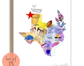 Travel stationery etsy texas map notecards set of 15 travel watercolor texas stationery travel map texas map travel notecards travel cards gumiabroncs Images