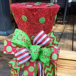 Christmas Top Hat Tree Topper, Candy Red and Lime Green Tree Topper, Candy Cane Top Hat, Centerpiece, Christmas Decor, Holiday Decoration