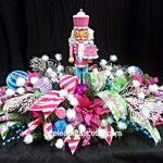 Whimsical Nutcracker Christmas Centerpiece, Candy Floral Table Decoration, Pink Lime Teal Cupcake Holiday Decor, Candy-land Arrangement