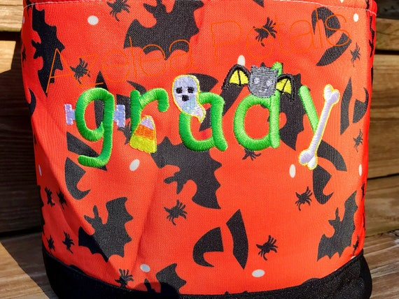 Personalized name halloween bag Trick or Treat bag Frankenstein,Custom Bag halloween bag Candy bag Witch candy bag Halloween cotton