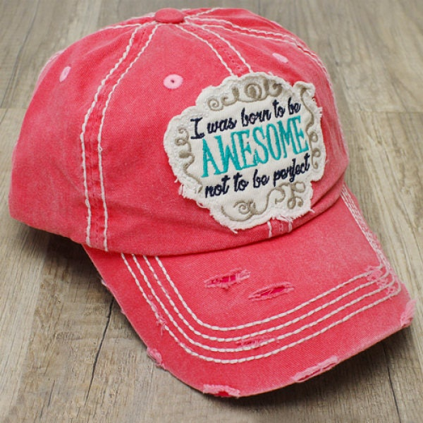 898beeedda0 Sale Next Day Ship Born Awesome Not Perfect Hat Monogram