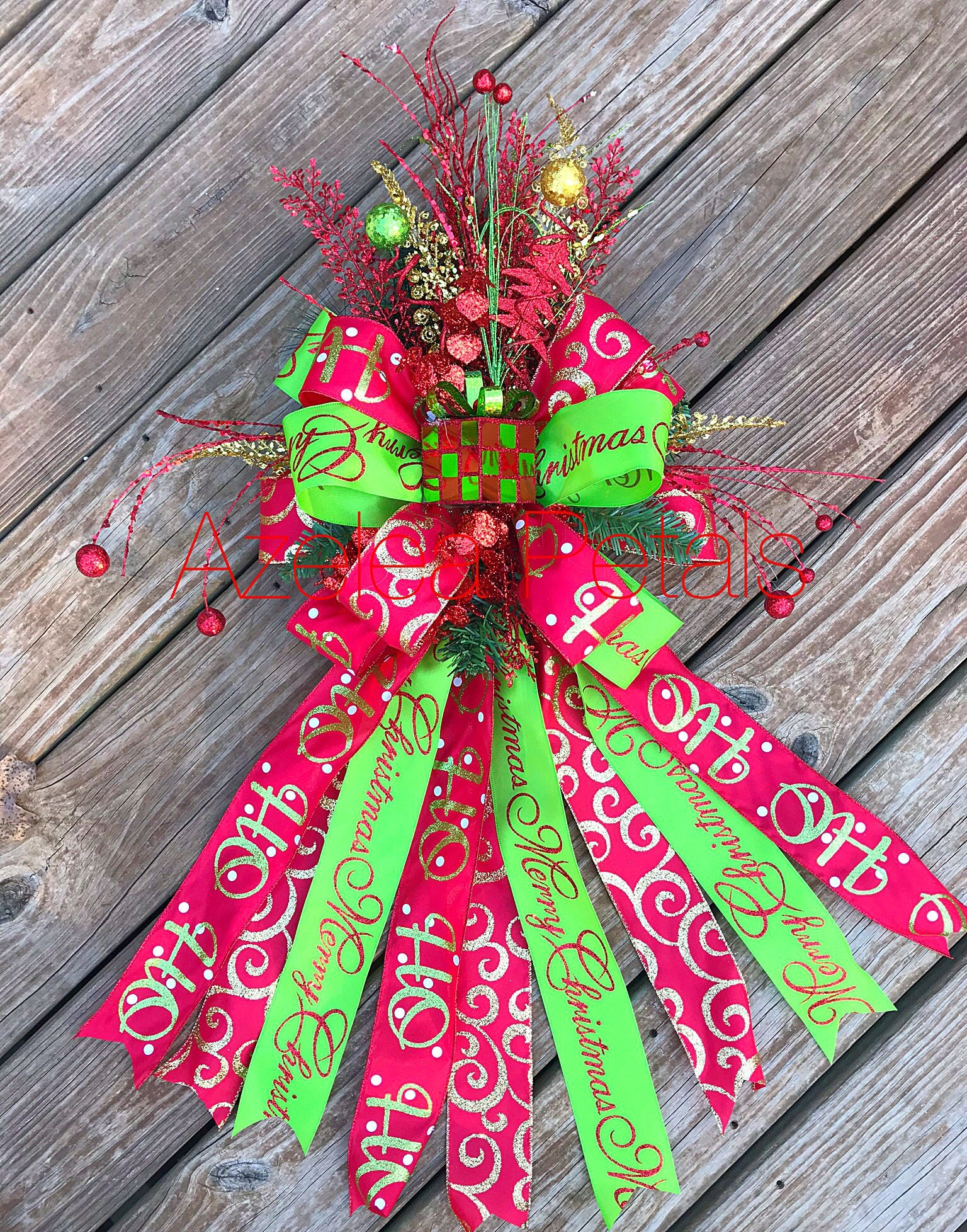 Present Christmas Tree Topper Gold Red And Lime Green Bow Chevron Decoration Holiday Decor Christmas Wreath Home Decor Holiday Cupcake