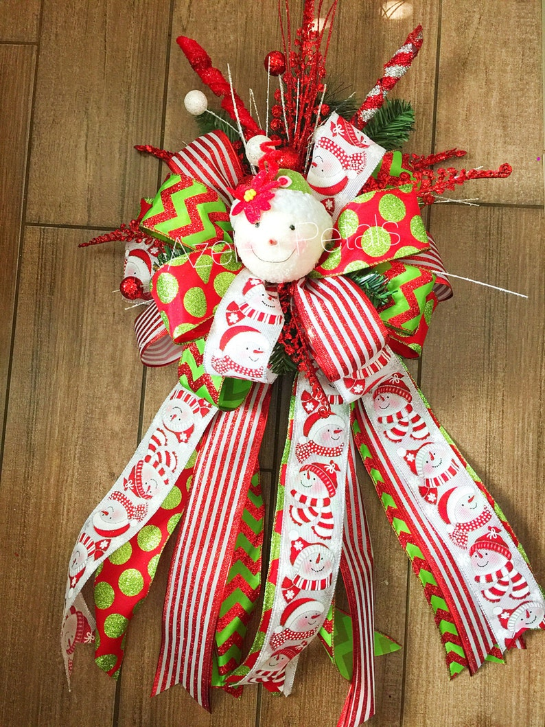 Snowman Christmas Tree Topper Candy Cane And Lime Green Bow Chevron Decoration Holiday Decor Christmas Wreath Home Decor Holiday