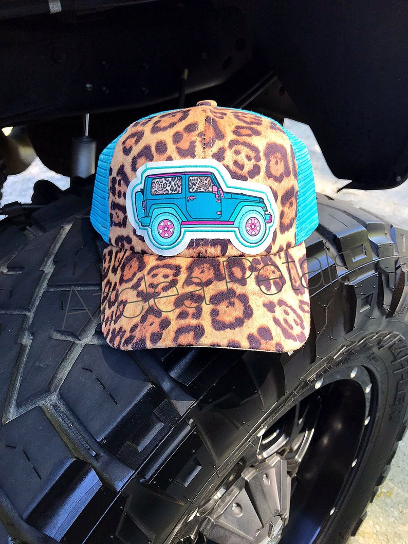 Sale Next Day Ship Turquoise Jeep Patch on Leopard Hat  d62db872b6cb