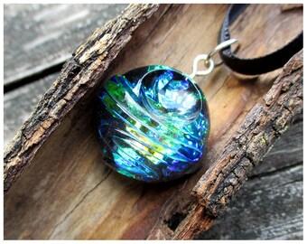 Blue green iridescent pendant necklace