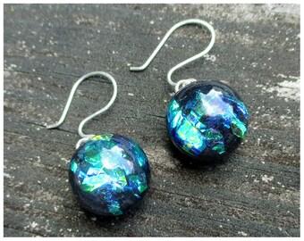 Blue Green Iridescent Earrings