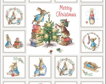 Peter Rabbit Christmas Panel by the Craft Cotton Company -- 1/2 Yard