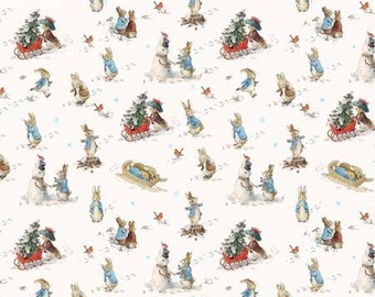 Peter Rabbit Fun in The Snow by the Craft Cotton Company -- 1/2 Yard