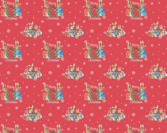 Peter Rabbit Merry Christmas by the Craft Cotton Company -- 1/2 Yard