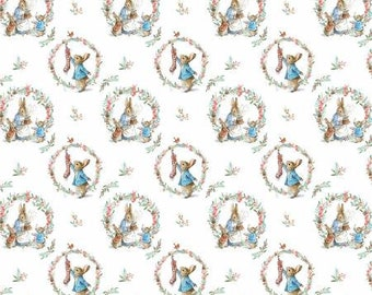 Peter Rabbit Traditional Wreath by the Craft Cotton Company -- 1/2 Yard