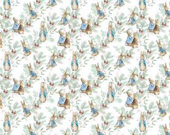 Peter Rabbit Christmas Ferns by the Craft Cotton Company -- 1/2 Yard