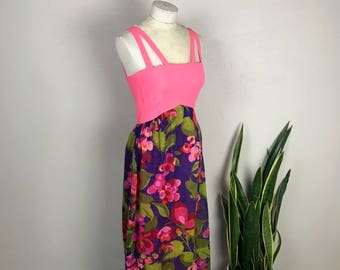 1960s/1970s Pink/Purple Floral Maxi Dress