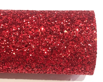 Red Glitter Fabric Sheet 0.9mm -1.0mm Thick A4 or A5 Sheets Chunky Red Glitter Chunky A4 A5 Sheets