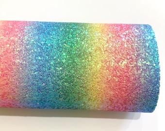 b12bafb025d Pastel Rainbow No.2 Chunky Glitter PU Leather Fabric