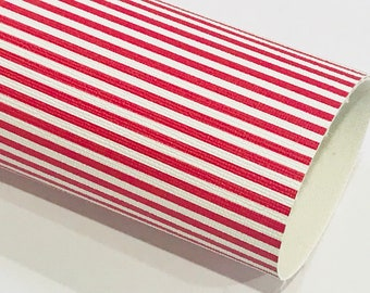 Red White Stripe Leatherette Sheet Stiffer 0.8mm Thickness A5 A4 Size Faux Leather Fabric