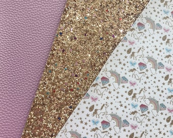 BULK 3 Unicorn Pack choice of Pink or Blue Leatherette PU Leather A5 or A4 Sheets Premium Glitter Unicorn Leather Bows Headbands