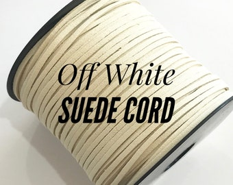Off White Faux Suede Cord - 5m