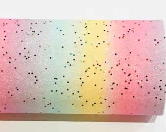 Unicorn Dust Pastel Rainbow and Stars Fine Glitter Fabric