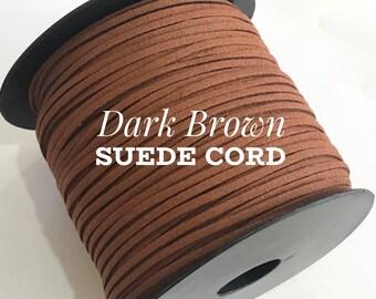 Dark Brown Faux Suede Cord - 5m