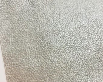 Silver Leatherette Sheet 0.7mm A4  8X11,  A5 Size Silver Faux Leather Fabric Big Lychee Pattern PU Leather Thin Leatherette