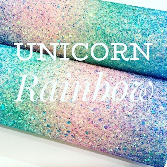 Unicorn Rainbow Chunky Glitter PU Leather Fabric
