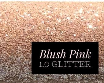 Blush Pink Chunky Glitter Fabric Sheet